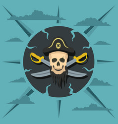Pirate skull and crossed sabers vector