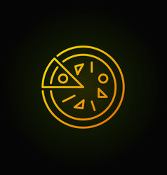 pizza yellow outline icon on dark vector image vector image