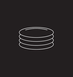 Plates dishes line icon outline sign vector