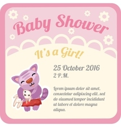 Postcard with baby girl and space for text vector image