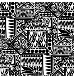 Seamless asian ethnic floral retro doodle black vector image vector image