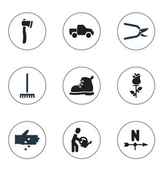 set of 9 editable agriculture icons includes vector image vector image