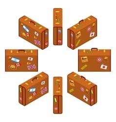 Set of standing brown travelers suitcases vector