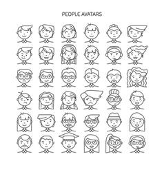 Set wth thin line icon of people stylish avatars vector image vector image