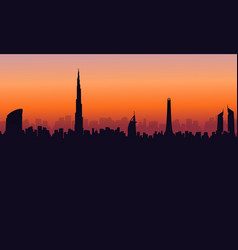 Silhouette of dubai building at sunset scenery vector