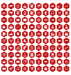 100 interaction icons hexagon red vector