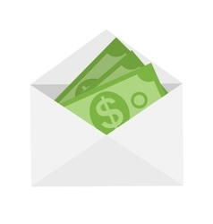 Us dollar stack paper banknotes in envelope icon vector