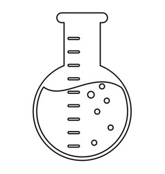 Laboratory flask glass liquid thin line vector
