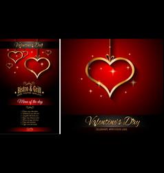 valentines day restaurant menu template vector image