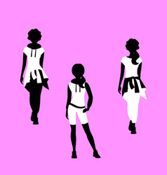 Fashion woman free style model silhouettes vector