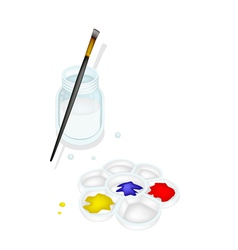 Color paint in palette with brush and jar vector