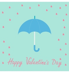 Pink heart rain with blue umbrella flat design vector