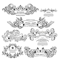Set of Vintage Victorian ornaments Wedding design vector image