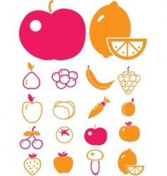 Cute vegetables  fruits vector