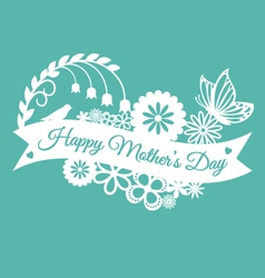 Mothers day paper cut ribbon banner vector