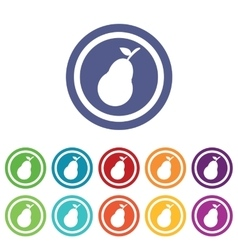 Pear signs colored set vector