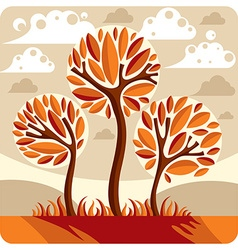 Fantasy landscape with stylized tree peaceful vector