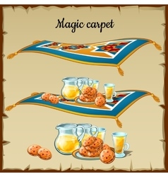 Magic carpet food three images vector