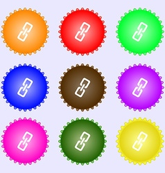 Link icon sign a set of nine different colored vector
