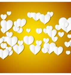 White paper hearts valentines day card on yellow vector
