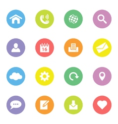 Colorful simple flat icon set 1 on circle vector
