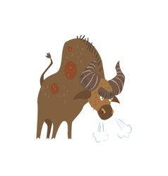 Standing bull flat cartoon stylized vector