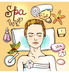 Spa woman waiting spa massage vector