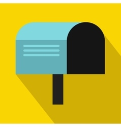 Blue mailbox icon flat style vector image