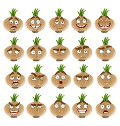 Cute cartoon onion smile with many expressions vector