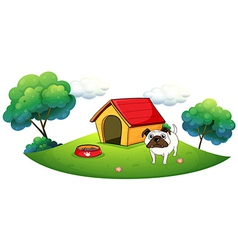 A bulldog outside its dog house vector image vector image