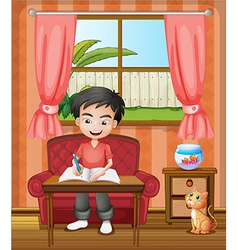 A young boy writing vector image
