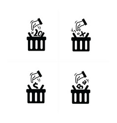 Add to shopping cart icon set vector