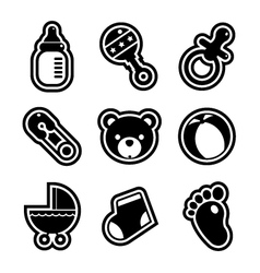 Baby Shower Icons vector image vector image