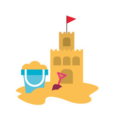 Beach sandcastle with sand bucket vector