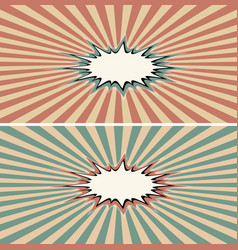 Burst rays vintage comic book explosion color vector