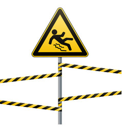 caution - danger beware of slippery safety sign vector image vector image