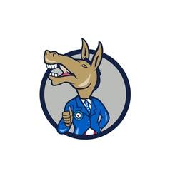 Democrat Donkey Mascot Thumbs Up Circle Cartoon vector image