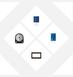 Flat icon technology set of receptacle transistor vector