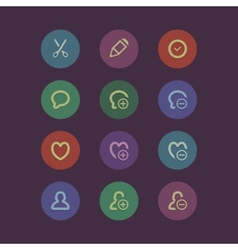 Flat social media and marketing icons vector
