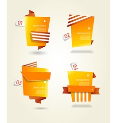Four orange paper circles with place for your own vector image