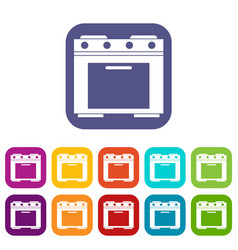 Gas stove icons set vector