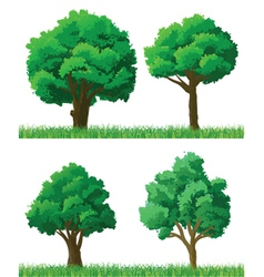 green trees and grass set vector image