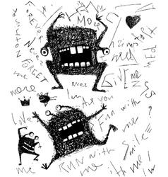 Grunge dreadful horrible monster fun character vector