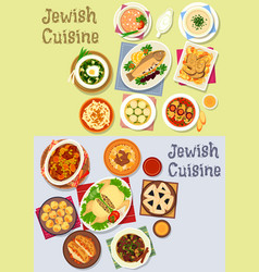 Jewish cuisine kosher food icon for menu design vector