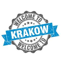 Krakow round ribbon seal vector