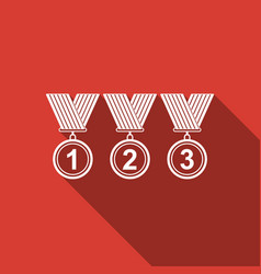 medal set icon with long shadow winner simbol vector image vector image