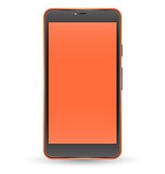 Modern orange color touchscreen cellphone vector image vector image