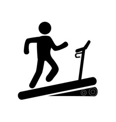 Monochrome pictogram with man in treadmill vector