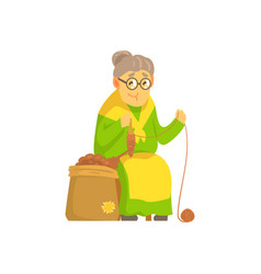 Old lady spinning ball of wool vector