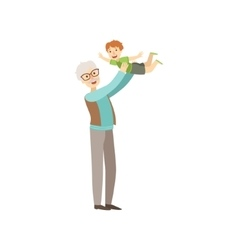 Old man playing with his grandson vector